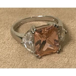 Sterling Silver Pink & Clear CZ Statement Ring